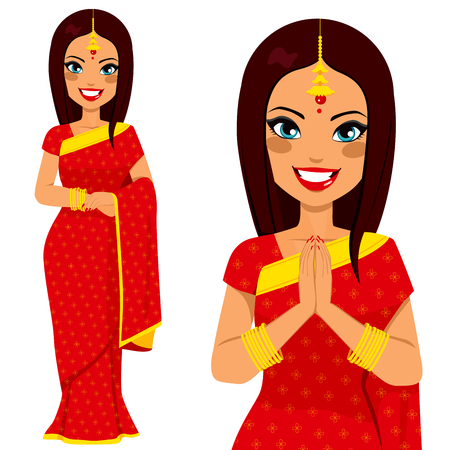 girl in red dress: Traditional Indian woman holding hands in prayer position and full body pose