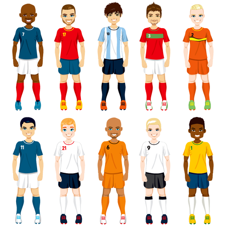 Collection set of soccer players in different national team uniforms Vector