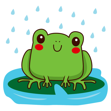 Cute little frog smiling happy in a rainy day sitting on green leaf Vector