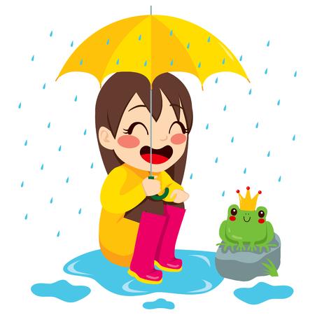sotto la pioggia: Cute bambina guardando piccola rana con corona sotto la pioggia