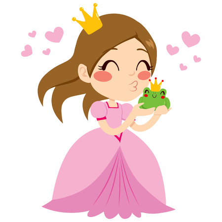 Beautiful little princess kissing cute green frog prince with crown Vector