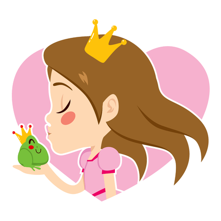 Profile portrait of a beautiful little princess kissing cute green frog with crown
