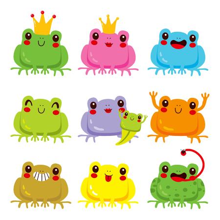 face expressions: Colecci�n de ranas lindas de colores con diferentes expresiones faciales divertidas