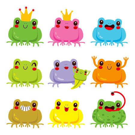 Collection of colorful cute frogs with different funny face expressions