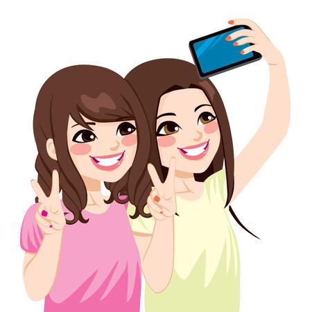 휴대 전화 카메라와 함께 selfie의 사진을 복용하는 아름 다운 젊은 아시아 일본인 친구