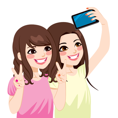 taking picture: Beautiful young asian japanese friends taking selfie photo together with mobile phone camera