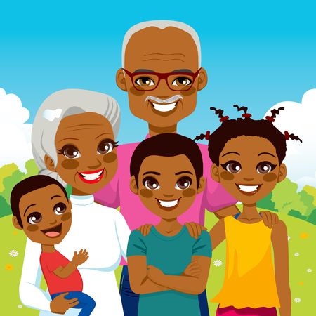 family: Cute African American Grandparents With Grandchildren family together on park smiling happy