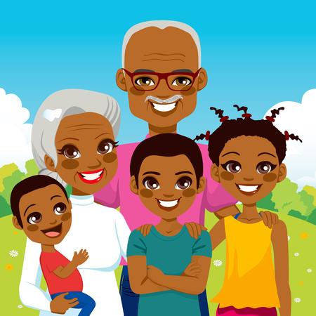 africanas: Lindo Abuelos afroamericanos con los nietos de la familia juntos en el parque sonriendo feliz
