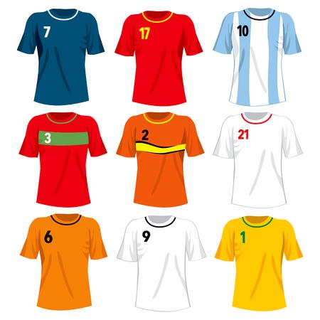 deportes caricatura: Conjunto de la colección de las diferentes selecciones nacionales de fútbol camiseta uniformes Vectores