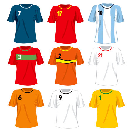 Collection set of different national soccer team t-shirt uniforms