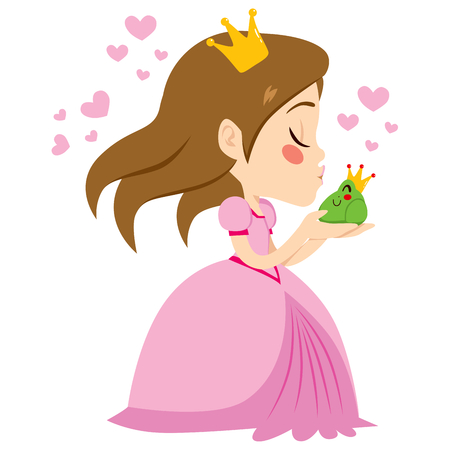 Beautiful little princess kissing cute happy green frog prince with crown Vector