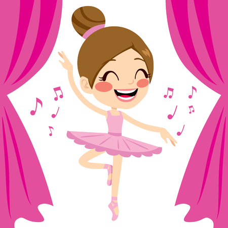 Beautiful ballet dancer girl dancing wearing pink tutu and pointe shoes Vector