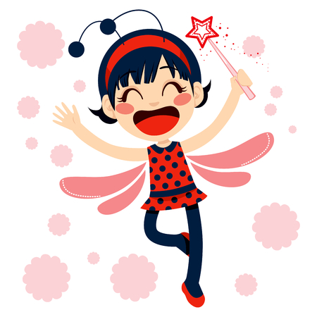 Cute little magical red ladybug fairy with magic wand Vector