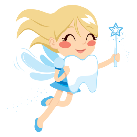 tooth fairy: Beautiful sweet blonde tooth fairy girl holding big tooth and magic wand
