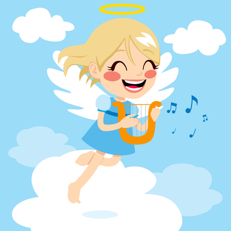 Cute little angel playing music with harp flying above clouds Vector