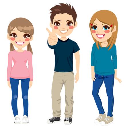 altas: Ilustración del cuerpo completo de tres adolescentes jóvenes felices sonriendo con ropa casual posando juntos