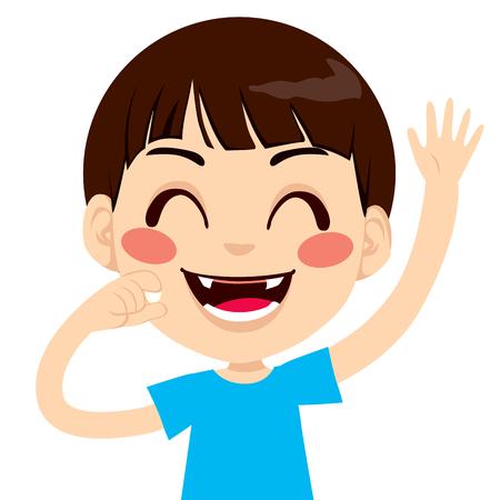Netter kleiner Junge glücklich holding gefallen Zähne und winkenden Hand