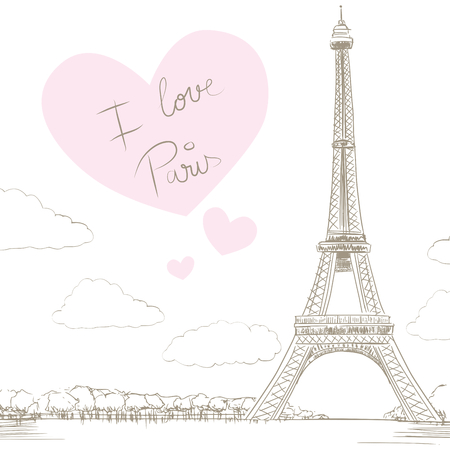 Line drawing illustration of Eiffel Tower background with big heart and text saying I love Paris Vector