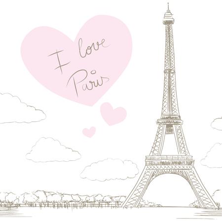 Touring: Linia rysunek ilustracja Wieża Eiffla tle z wielkim sercem i tekst mówiąc kocham Paryż