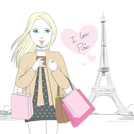 Attractive blonde woman drinking coffee in front of Eiffel Tower at Paris with pink heart and text saying I love Paris Vector