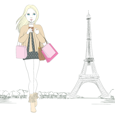 Beautiful woman walking while drinking coffee and holding shopping bags at Paris with Eiffel Tower at background Vector