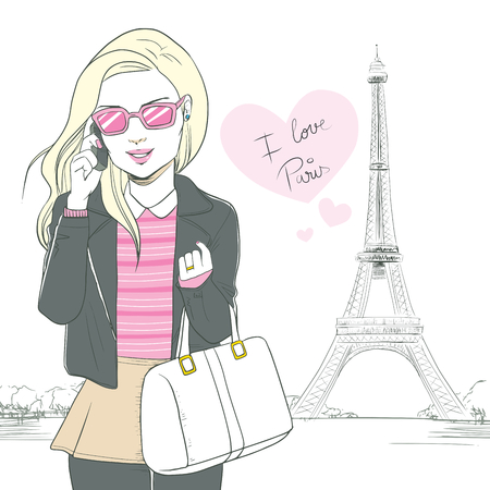 Attractive blonde woman talking with smartphone at Paris with pink heart saying I love Paris and Eiffel Tower background Vector