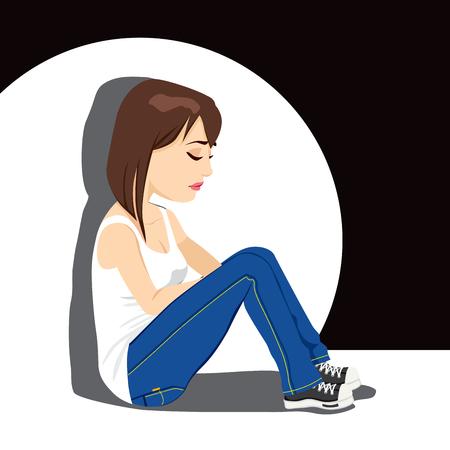 Triest tiener meisje huilen zittend op de vloer onder de witte vlek licht op een donkere achtergrond Vector Illustratie