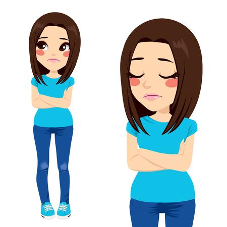 chateado: Menina triste do adolescente com os bra�os cruzados e express�o solit�ria