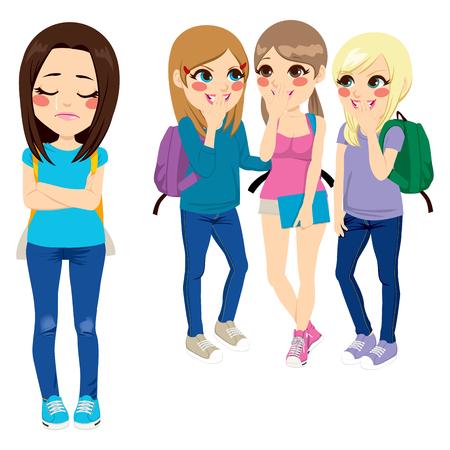 social issues: Tre ragazze della scuola bullismo povera ragazza triste compagno di classe