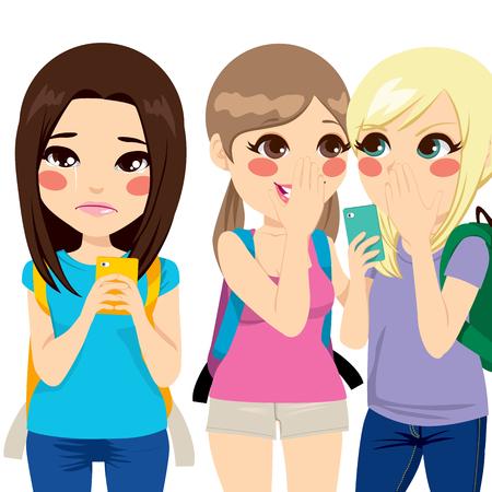 그녀의 친구들은 사이버 괴롭힘을 만드는 그녀의 스마트 폰에 성희롱 메시지를 읽는 동안 울고 십 대 소녀