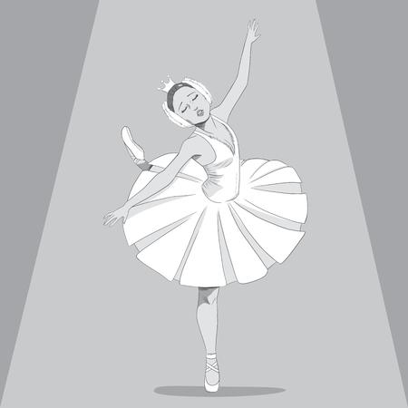 swan lake: Black and White drawing illustration of a ballerina dancing swan lake ballet with sad expression under spot light Illustration