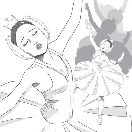 Black and White drawing of a ballerina dancing swan lake ballet with sad expression Vector