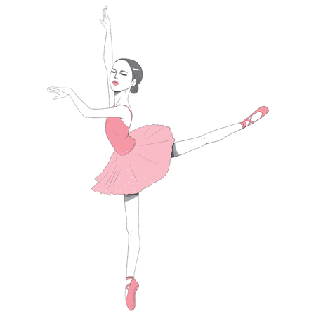 pointe: Beautiful ballerina dancing with pink tutu dress isolated on white background Illustration
