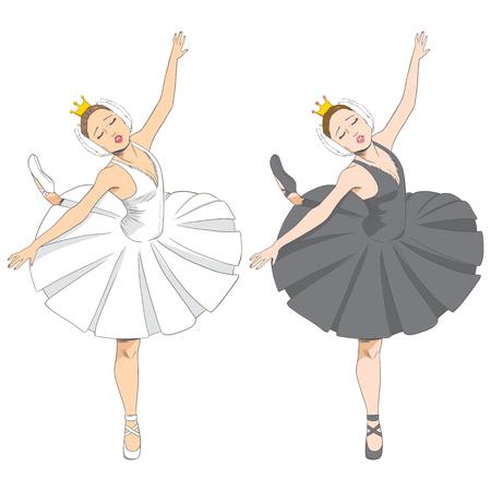 swan lake: Line illustration of a beautiful elegant swan lake ballet dancer in two black and white version Illustration