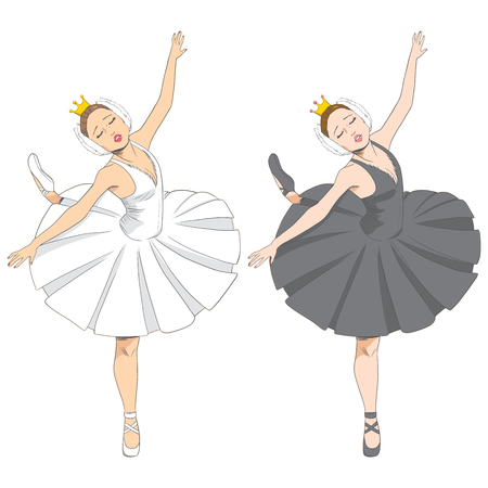 Line illustration of a beautiful elegant swan lake ballet dancer in two black and white version Illustration