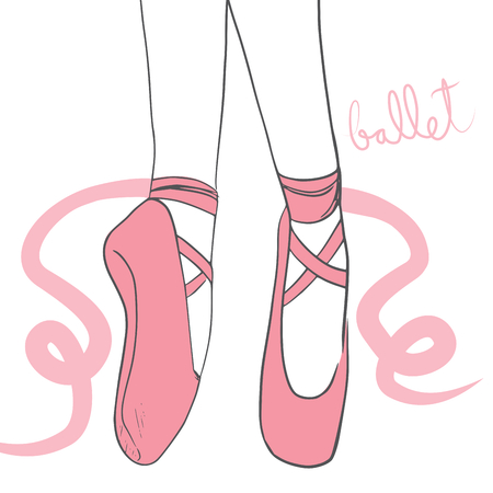 Detail illustration of pink ballerina shoes with curly laces