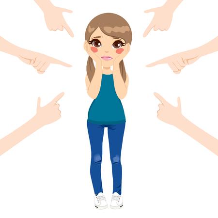 Linda chica adolescente acusado con los dedos apuntando a su