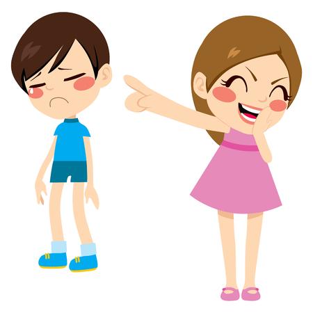 Evil meisje pesten arme trieste jongen kind wijzende vinger lachen en bespotten