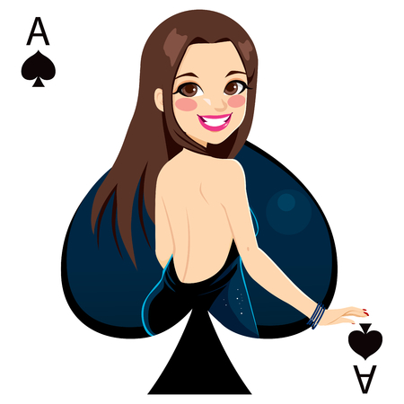 Beautiful brunette girl representing ace of spades card from poker game Vector