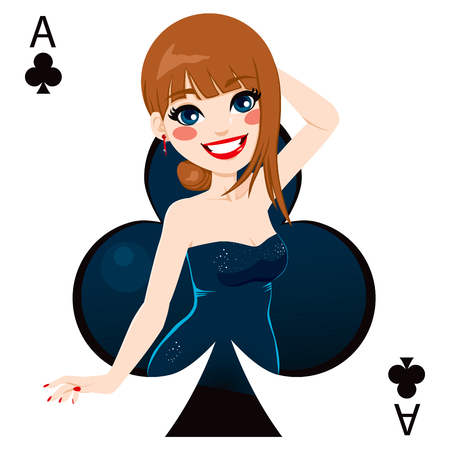 belle brunette: Belle fille brune représentant as de la carte des clubs de jeu de poker Illustration