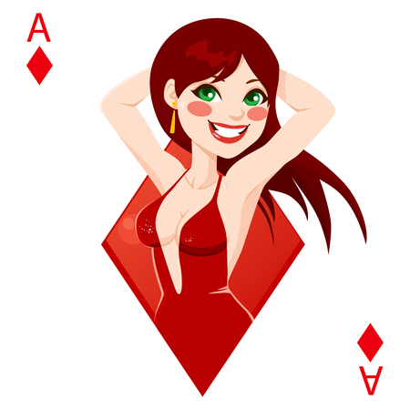 games of chance: Beautiful red haired girl representing ace of diamonds card from poker game