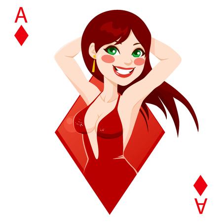 red haired girl: Bella ragazza dai capelli rossi che rappresentano asso di diamanti carta da gioco di poker