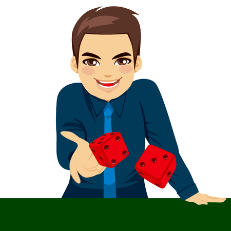 Handsome young man throwing dice gambling playing craps on green table