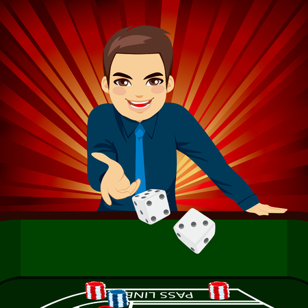 handsome young man: Handsome young man playing craps throwing dice on casino Illustration