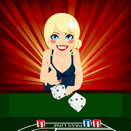 Attractive young blonde woman on casino playing craps throwing dice