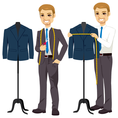 Young attractive tailor measuring bust on suit jacket Ilustrace