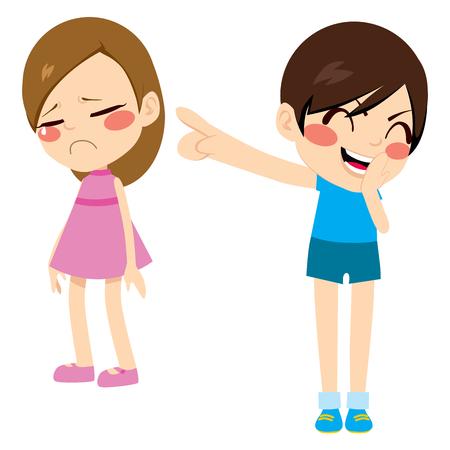 Evil niño niño pequeño intimidación pobre dedo niña señalando triste riendo y burlándose Vectores