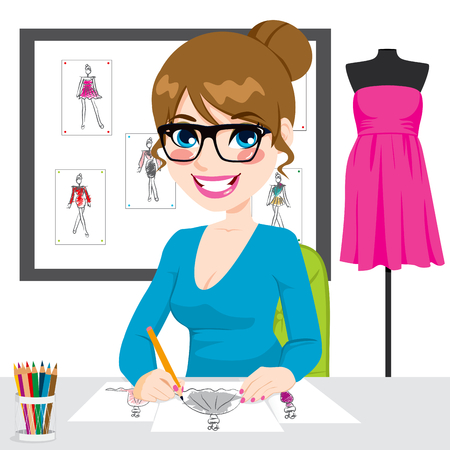 designed: Beautiful young fashion designer drawing dress design sketches