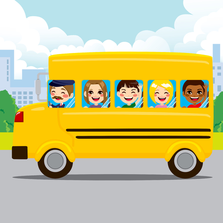 happy young people: Happy kids and driver riding yellow school bus through city road Illustration