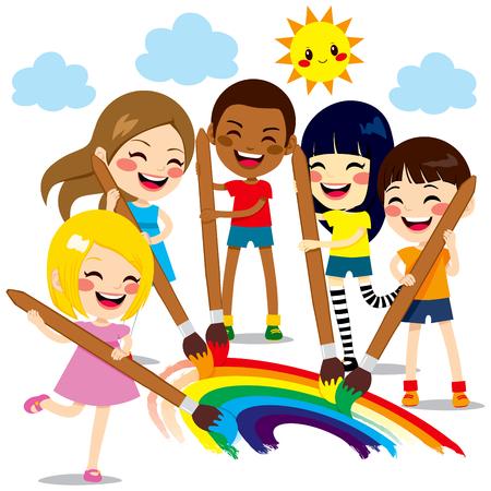Cinco niños pequeños lindos pintar juntos un hermoso arco iris de colores con los colores de pintura y pinceles